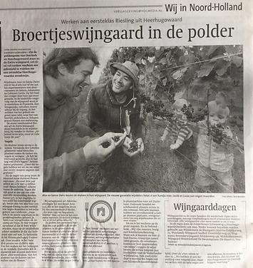 zwirs wijngaard in het nieuws noord hollands dagblad