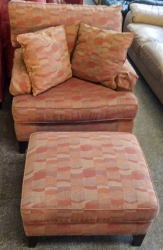 Like new Bassett arm chair with matching ottoman