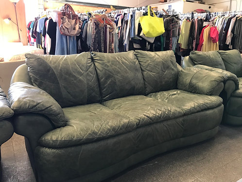 Green Leather Couch, Love Seat, Arm Chair and Ottoman