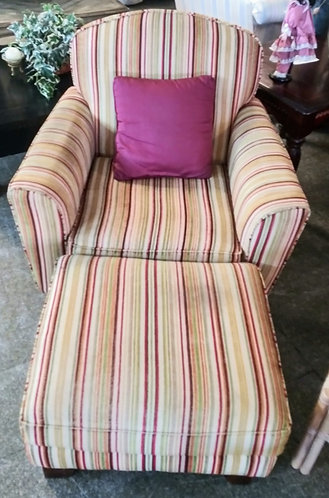Cute colorful arm chair with matching ottoman