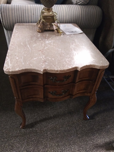 Marble Top Wood End Table