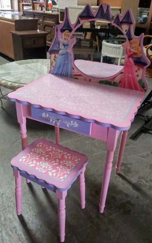 Really cute princess desk with matching stool