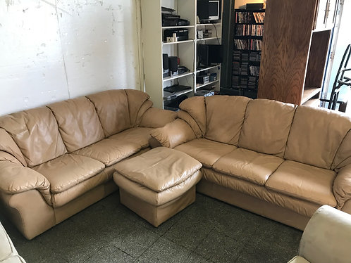 Pair of Leather Couches and Ottoman
