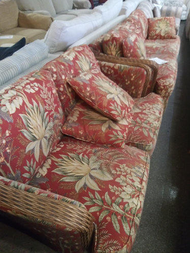 Vibrant Red Floral Sleeper Sofa and Loveseat