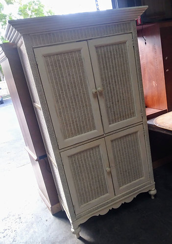 High End-Hand Crafted Lexington white wicker armoire