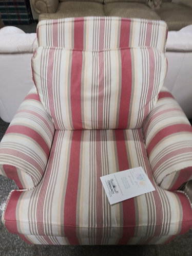 Vibrant red and white striped arm chair
