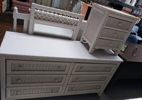 Beautiful white wicker dresser, nightstand, mirror, and headboard!