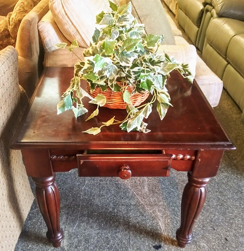 Beautiful wood end table with small drawer