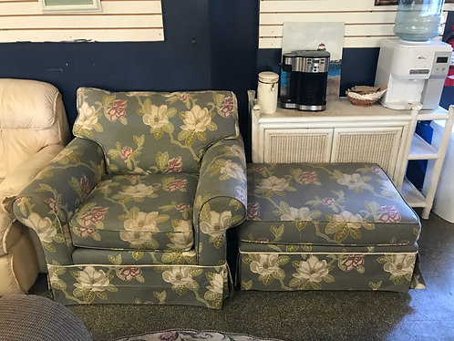 Floral Arm Chair and Ottoman