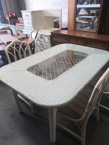 Stunning white wicker glass top table with 4 chairs