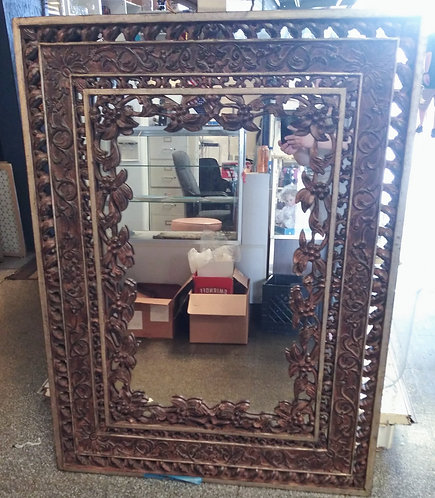 Stunning large wood wall mirror