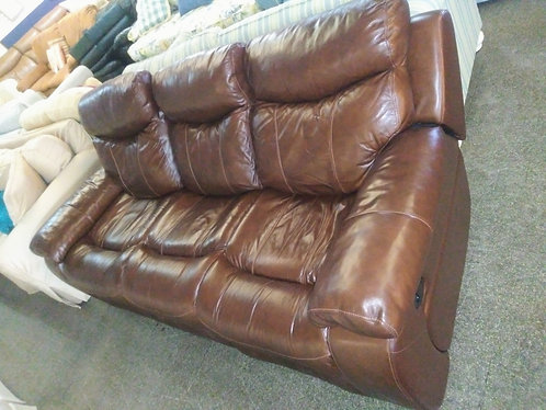 Gorgeous brown leather double reclining sofa and matching recliner