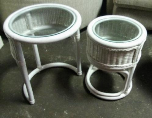 Unique white wicker side tables