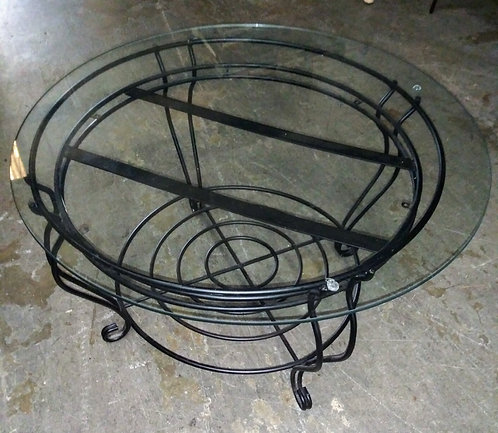 Small glass top wrought iron end table