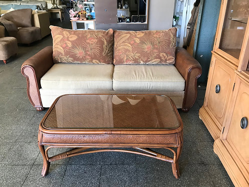 Wicker Couch and Coffee Table
