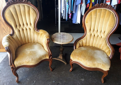 "Pair of ""Victorian Style"" low chaise lounges"