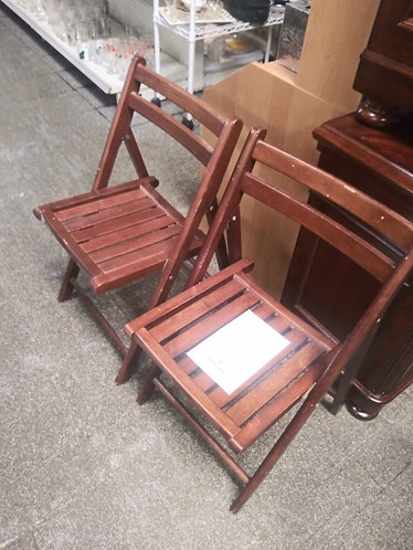 Two Chic Wooden Folding Chairs