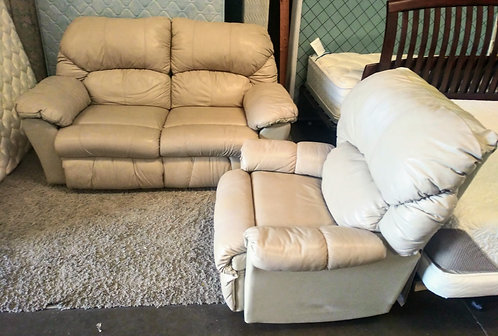 amazing quality leather love seat and recliner