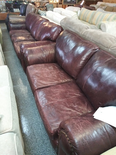 Distressed Leather Couch & Loveseat