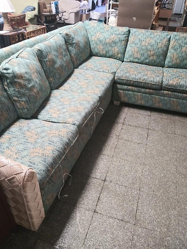 green floral sectional sofa