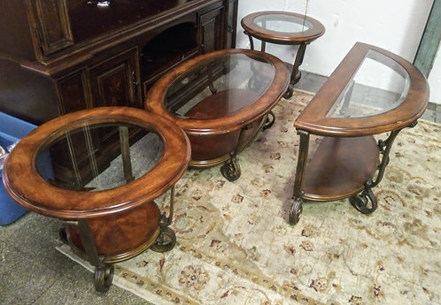 Exquisite glass top coffee table, sofa table, and 2 matching end tables