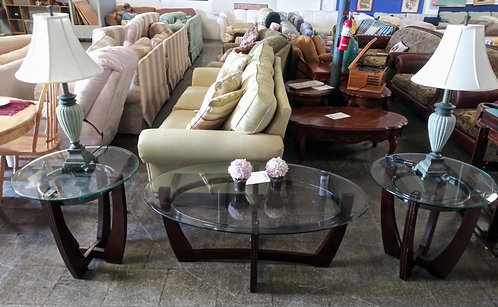Beautiful glass top coffee table and 2 end tables