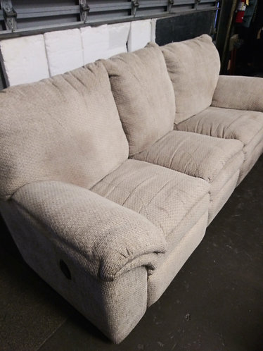 Great Quality Tan Cloth Reclining Sofa and Matching Loveseat
