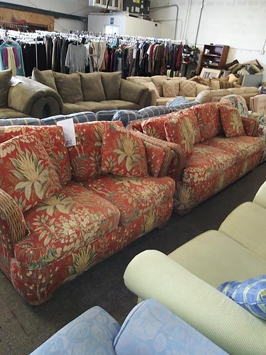 Red Floral Couch and Arm Chair