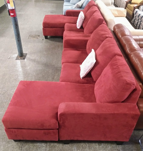 Unique red microfiber sectional sofa set!