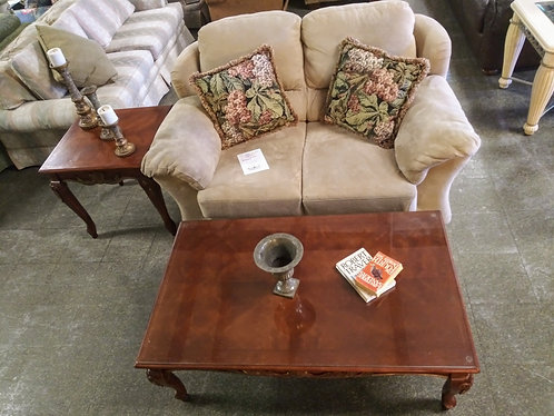 Comfortable microfiber love seat, coffee table, and end table