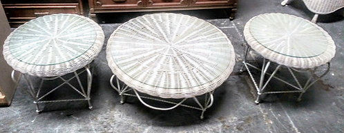 In high demand white wicker glass top coffee tables and matching end tables