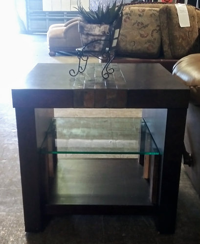 One of a kind solid side table with a glass shelf