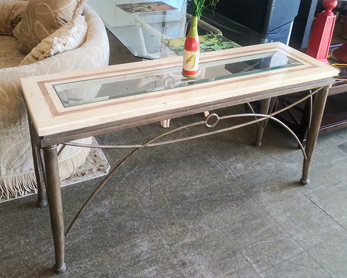Chic marble and glass top sofa table/entry table