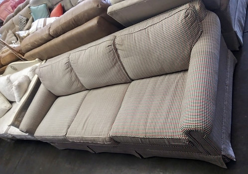 Durable and affordable white, red, and green stitch patterned sleeper sofa