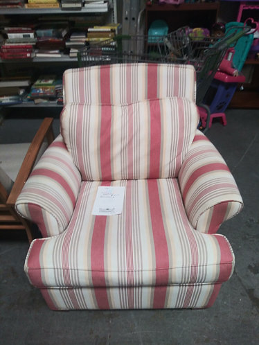 red and white fabric arm chair