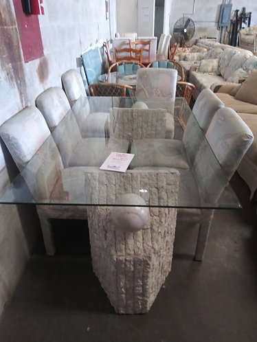 Unique Glasstop Table with 6 Chairs
