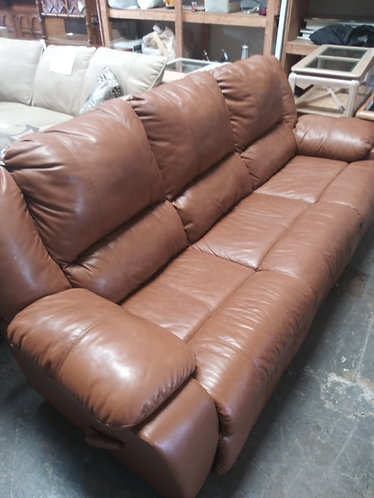 Dark Orange Leather Couch with Double Recliner