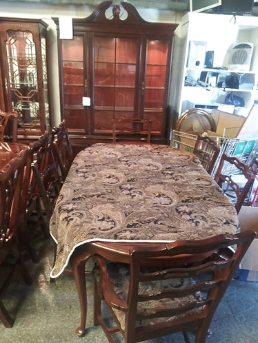 Top of the Line Drexel Dining Room Table, 6 Upholstered Chairs, & China Cabinet