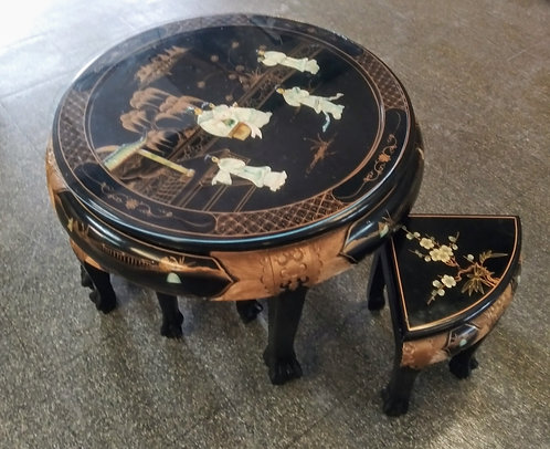 Stunning one of a kind oriental coffee/tea table with stools!