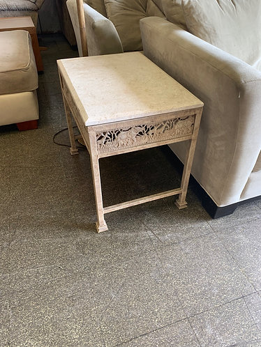 Pair of Iron and Stone End Tables