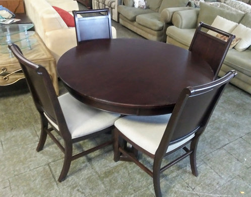 Beautiful dark wood dining room table with 4 chairs