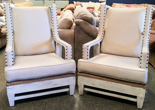 Set of 2 gorgeous studded wing back chair