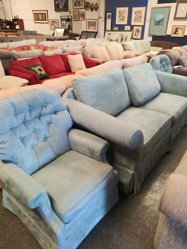 Teal Colored Sofa with 2 Matching Tufted Chairs