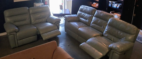 Subtle blue/gray leather electric double reclining sofa and love seat