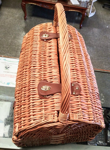 Really nice wicker picnic basket with utensils