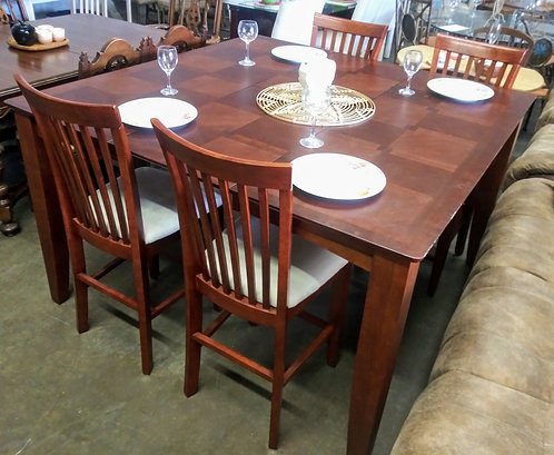 Stunning high top wood dining room table with 4 chairs