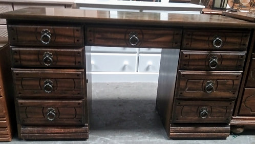 Antique style desk with 9 drawers