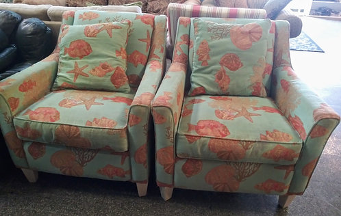 "2 ""beachy style"" seashell accent chairs"