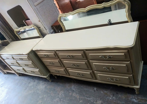Antique style cream colored dressers, both with mirrors!