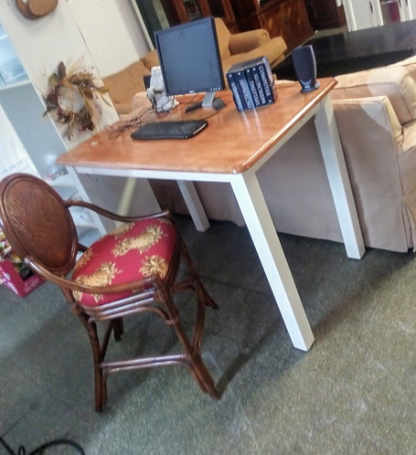 Convenient and modern tall desk with or without cute rattan bar stool